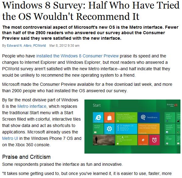 [fact] Windows 8 Survey