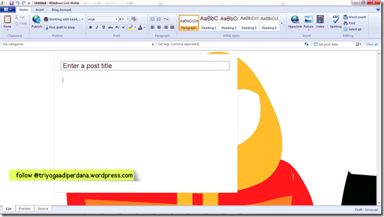 Tampilan awal windows live writer - 1