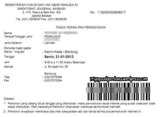 Konfirmasi Pembuatan Paspor Online