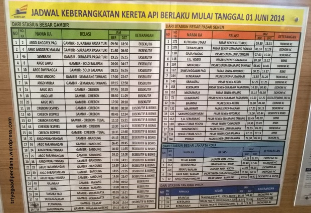 Jadwal Kereta Api Stasiun Gambir/Stasiun Pasar Senen per 1 Juni 2014